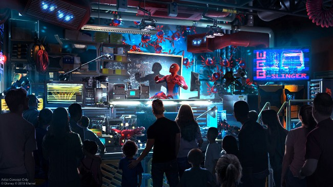 web slingers: a spider-man attraction at avengers campus in disney california adventure tom holland as spider-man