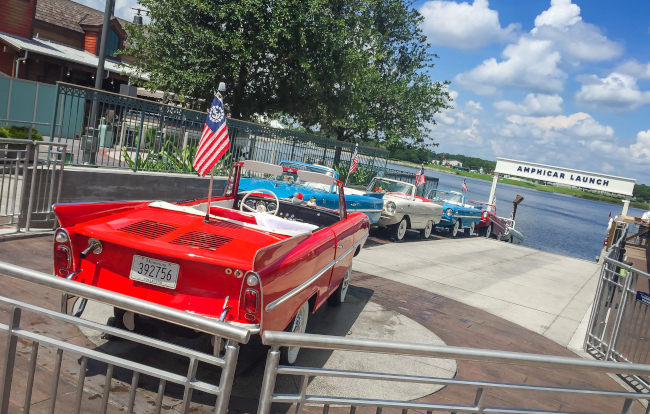 The Amphicars at Disney Springs - what does disney world look like