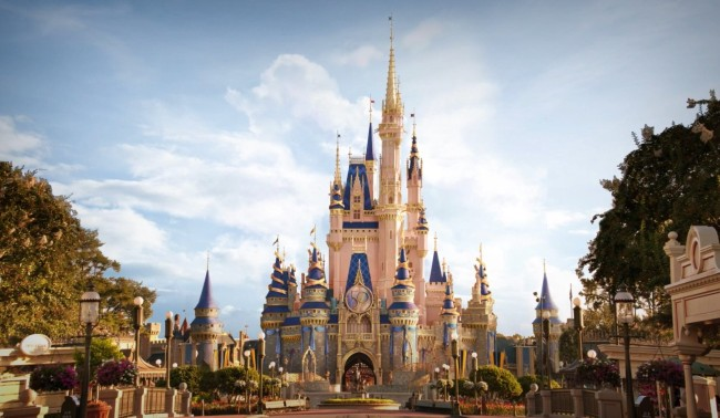 cinderella castle's daytime look for 50th anniversary