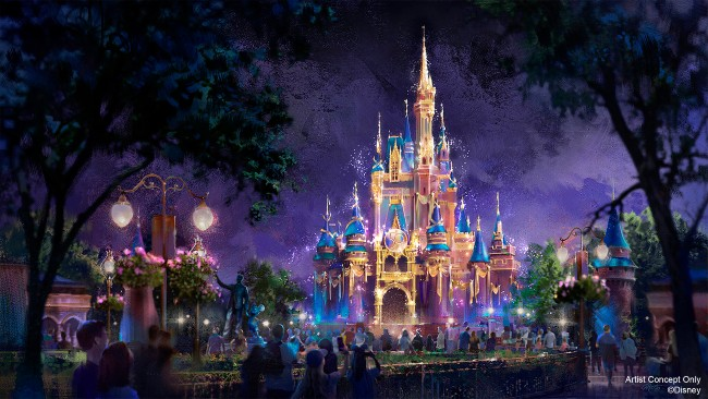 cinderella castle nighttime overlay for 50th anniversary