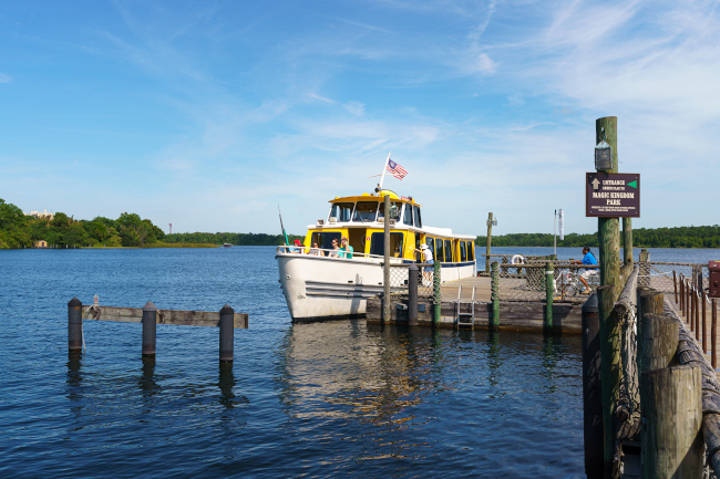 A boat waiting to set sail at Disney's Fort Wilderness Resort