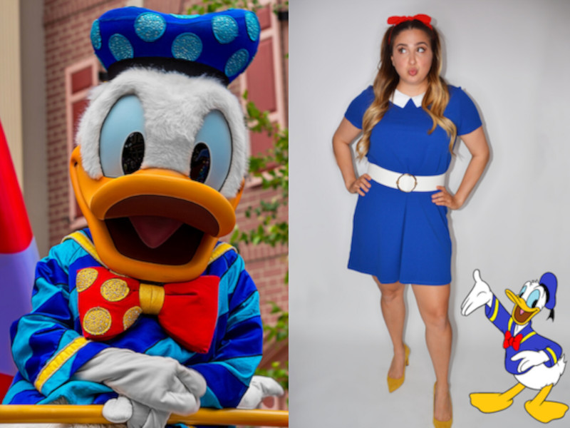 Donald Duck at Disney World (Left), Aly in a Donald Duck Disneybound (Right)