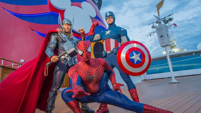 marvel characters at marvel day at sea on disney cruise line