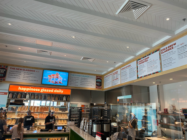 Interior of the new Everglazed Donuts & Cold Brew shop at Disney Springs