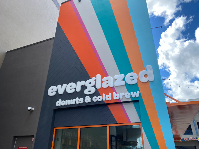Exterior of the new Everglazed Donuts & Cold Brew shop at Disney Springs