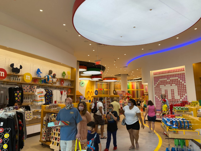 The interior of the new M&M store at Disney Springs