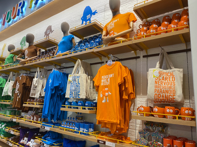 M&M themed T-shirts, Mugs, and other merchandise