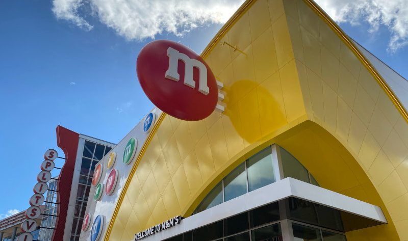 The exterior of the new M&M store at Disney Springs