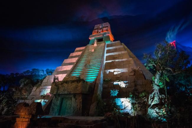 The Mexico Pavilion pyramid exterior at night at EPCOT