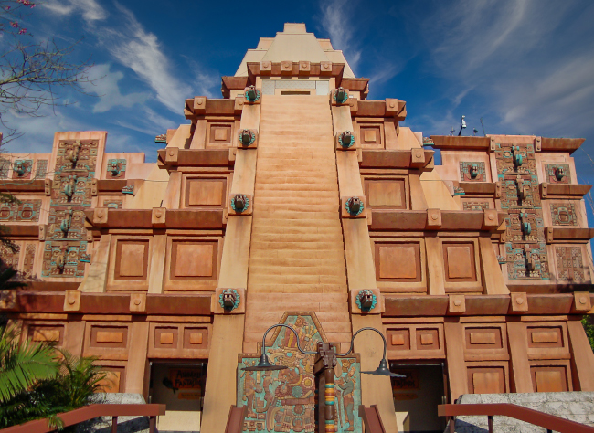 The Mexico Pavilion pyramid exterior during the day EPCOT