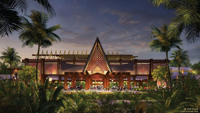 concept art for update to polynesian's great ceremonial house at walt disney world