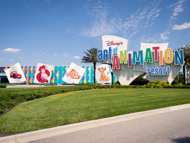 The front entrance to Disney's Art of Animation Resort