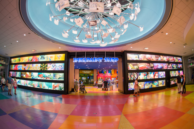 The entrance to the Ink & Paint shop at Disney's Art of Animation Resort