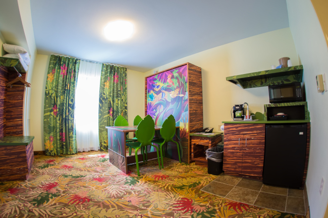 An interior views of one of the Lion King rooms at Disney's Art of Animation Resort