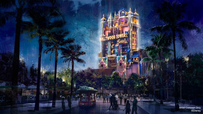 tower of terror nighttime overlay for 50th anniversary