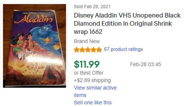 Aladdin Black Diamond VHS rare value