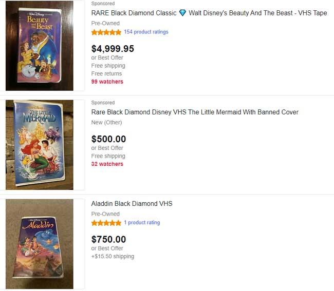Black-Diamond Disney VHS Tapes Value
