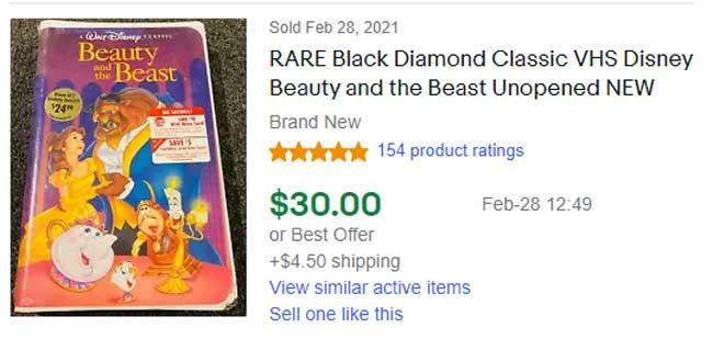 Disney VHS Rare Black Diamond Sale Price
