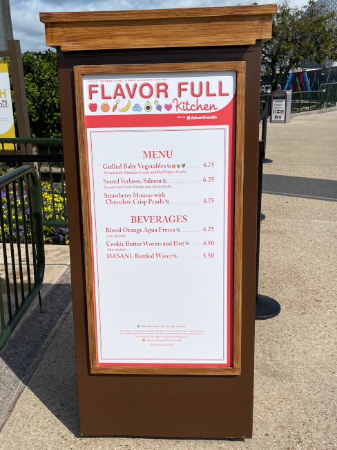 Flavor Full Kitchen Booth menu at the 2021 EPCOT Flower and Garden Festival