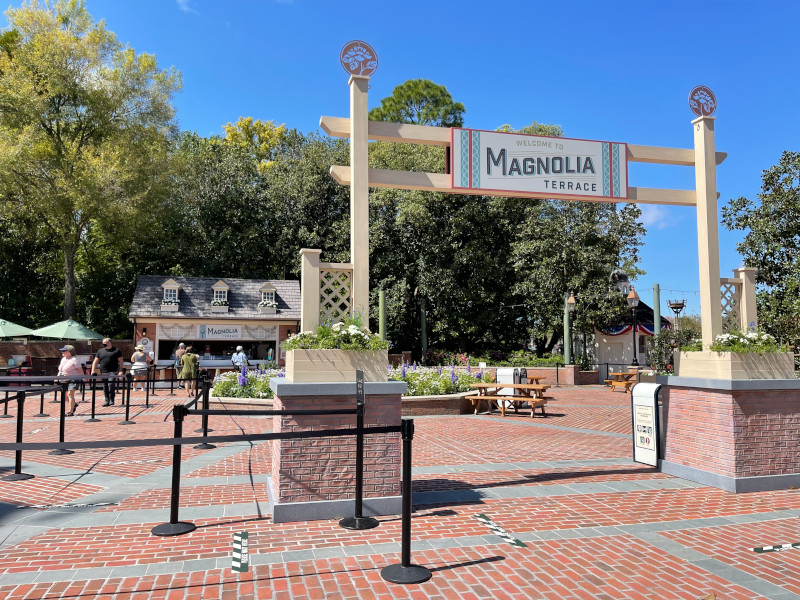 Magnolia Terrace America Booth at the 2021 EPCOT Flower and Garden Festival
