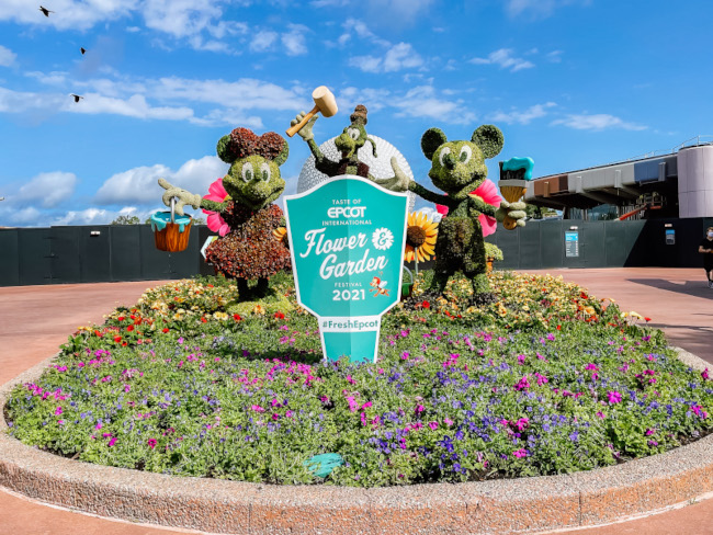 Topiaries of Mickey, Minnie, and Goofy at the 2021 EPCOT Flower and Garden Festival