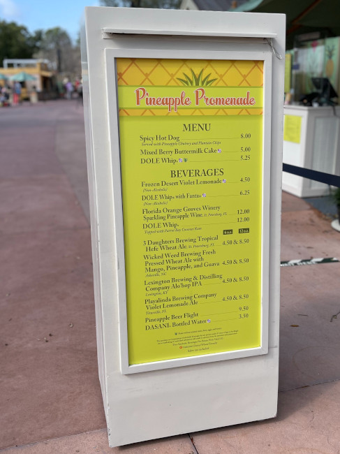 The Pineapple Promenade Booth menu at the 2021 EPCOT Flower and Garden Festival