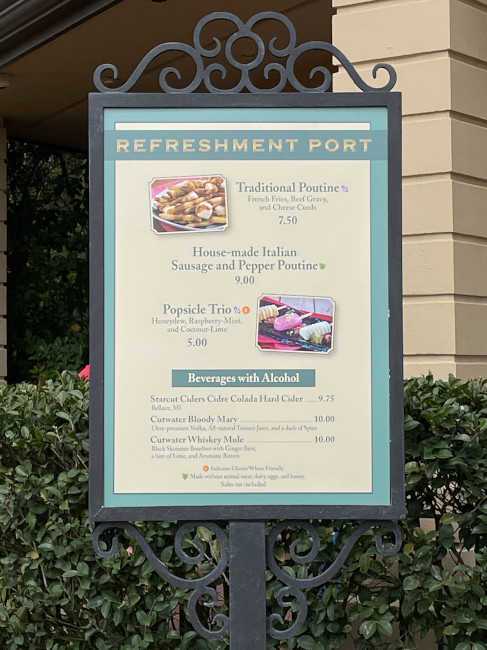 The Refreshment Port menu at the 2021 EPCOT Flower and Garden Festival