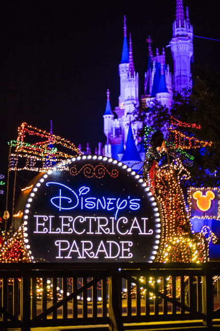 The sign for the Main Street Electrical Parade