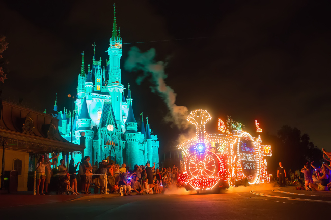 The Main Street Electrical Parade in front of Cinderella Castle