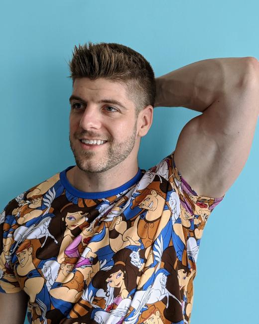 Nate Weir in a Hercules T-shirt
