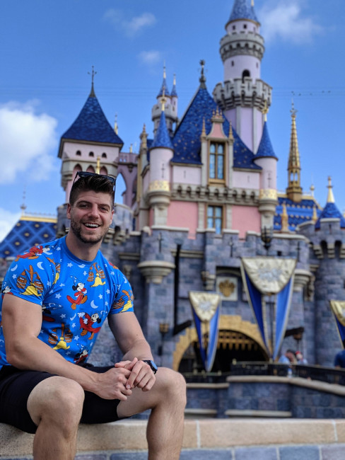 Nate Weir outside of Cinderella's Castle