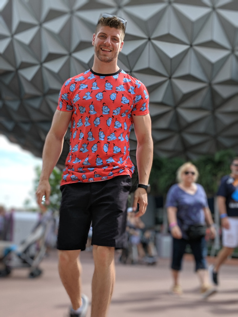 Nate Weir in front of Spaceship Earth at EPCOT