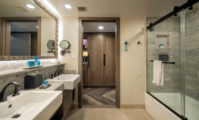reimagined bathroom in guest rooms at polynesian