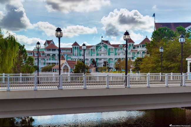The exterior of the Disney Beach Club Resort during the day