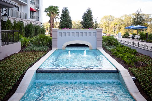 A fountain at Disney's Rivera Resort
