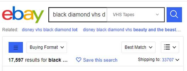 ebay black diamond vhs disney tapes