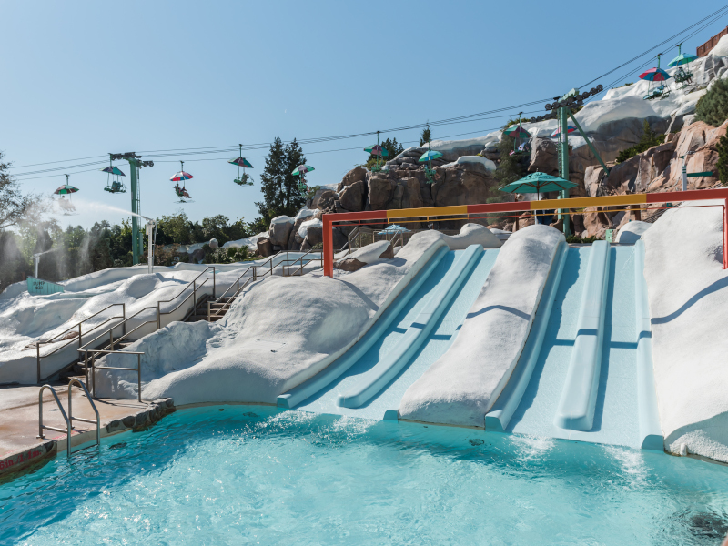 """""""Ski Slope"""" water slides and the chairlifts at Disney's Blizzard Beach"""
