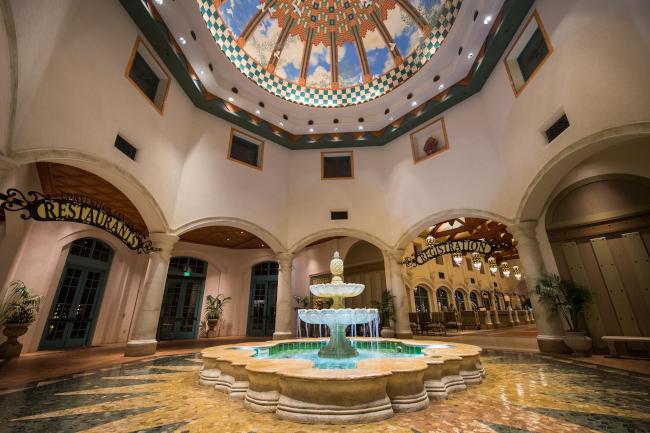 Interior lobby of Disney's Coronado Springs resort - what does disney world look like