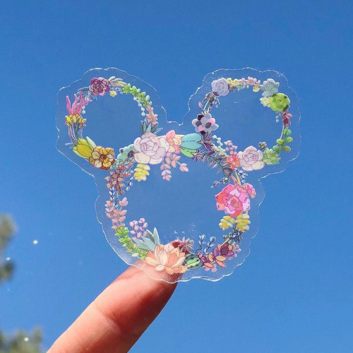 Transparent Floral Mickey head sticker from Wish upon Magic