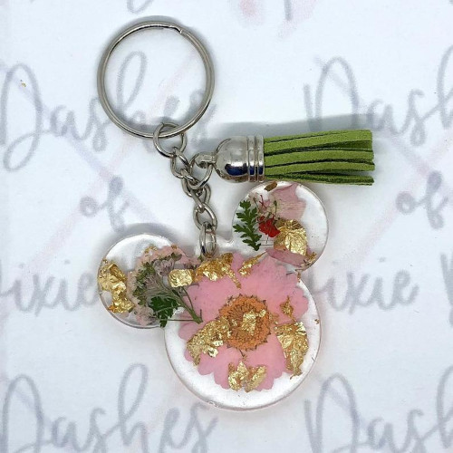 Floral Mickey head keychain from Dashes of Pixie Dust