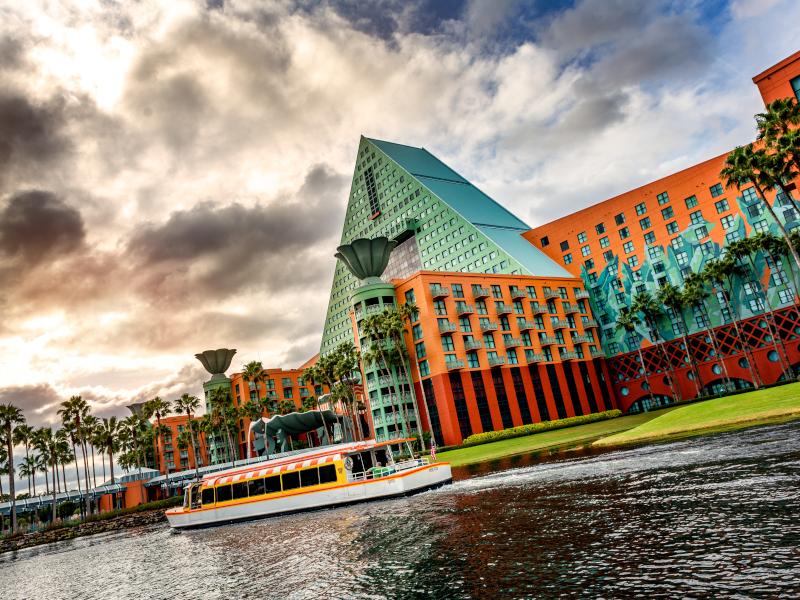 The exterior of the Swan Resort at Walt Disney World