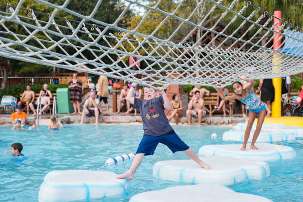 A rope bridge for kids at Disney's Blizzard Beach - what does disney world look like