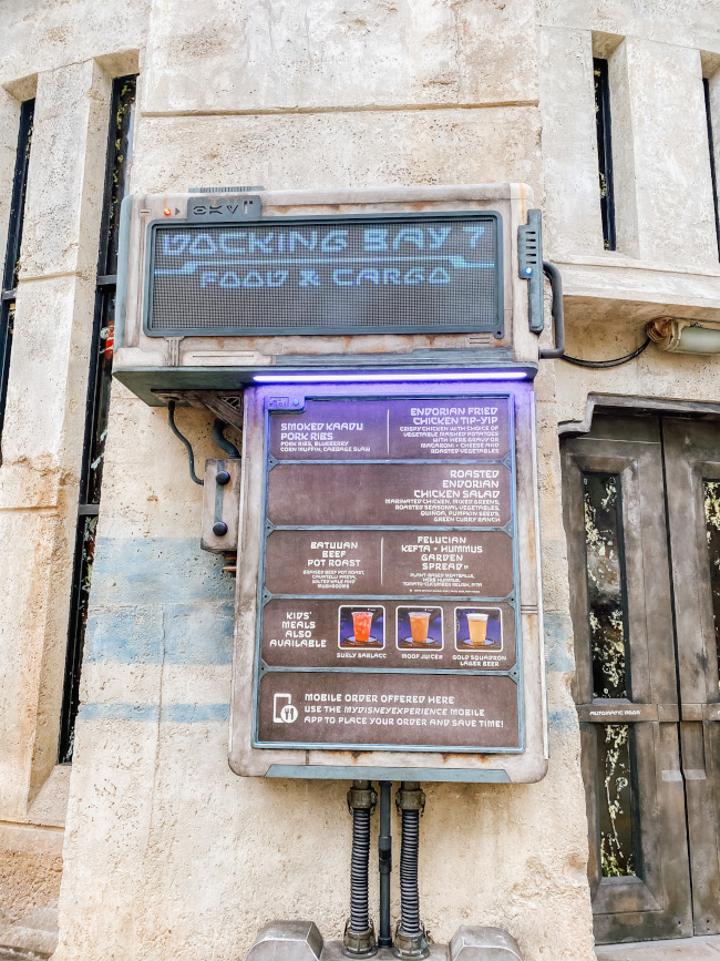 The themed menu for Docking Bay 7 on the outside of the establishment