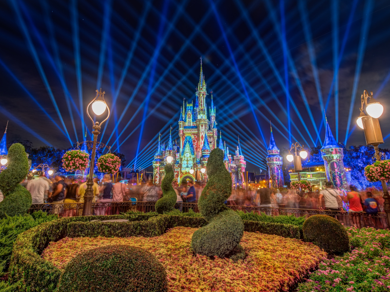 Cinderella Castle with projections on it during a performance of Happily Ever After at Walt Disney World's Magic Kingdom