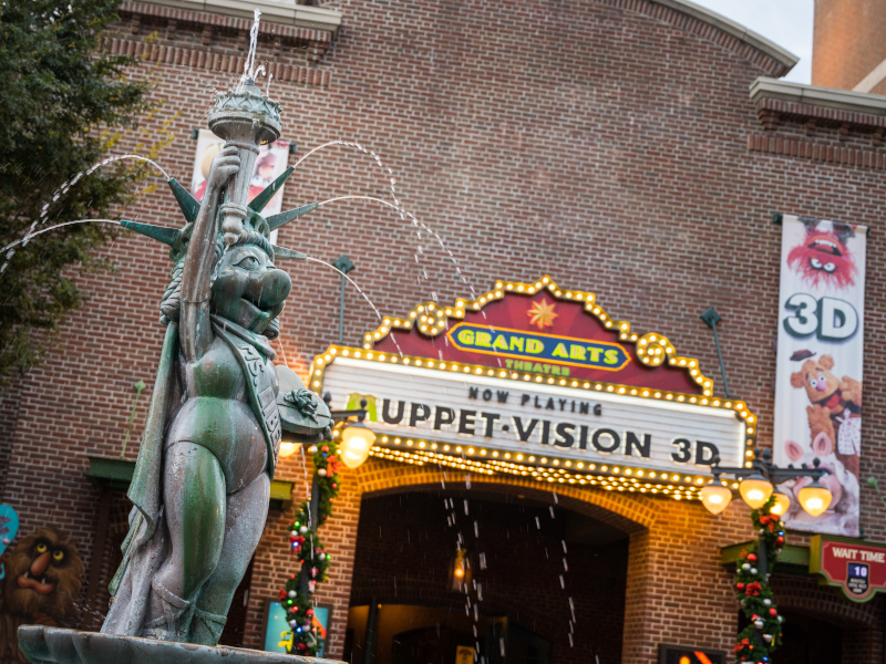The Entrance to Muppet*Vision 3D, along with the fountain statue of Ms. Piggy