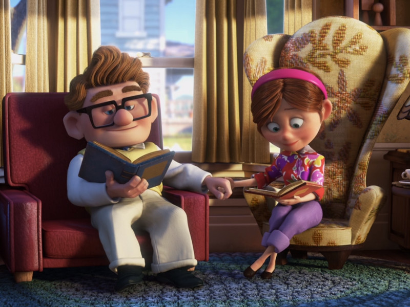 Young, happy Carl and Ellie at the beginning of Pixar's Up