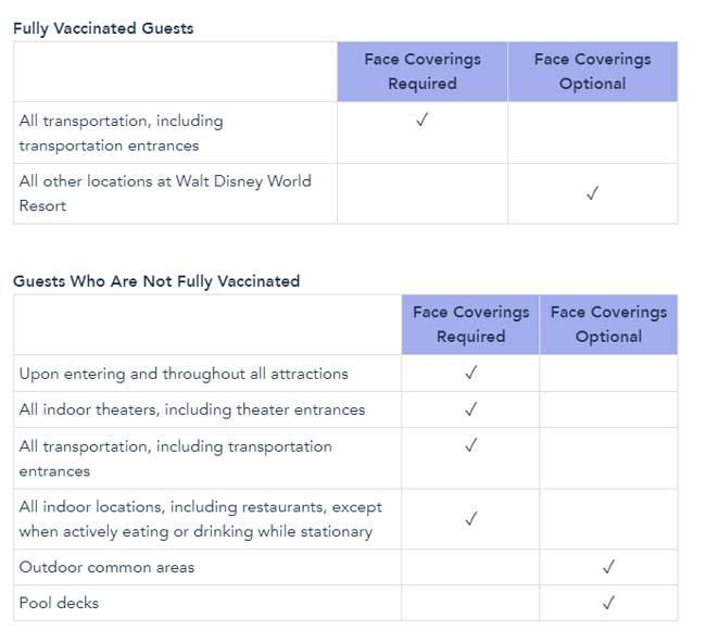 Mask Requirements at Disney World