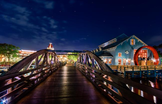 The watermill at Disney's Riverside Resort at night