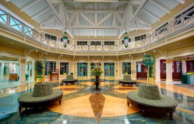 The interior to the lobby at Disney's riverside resort
