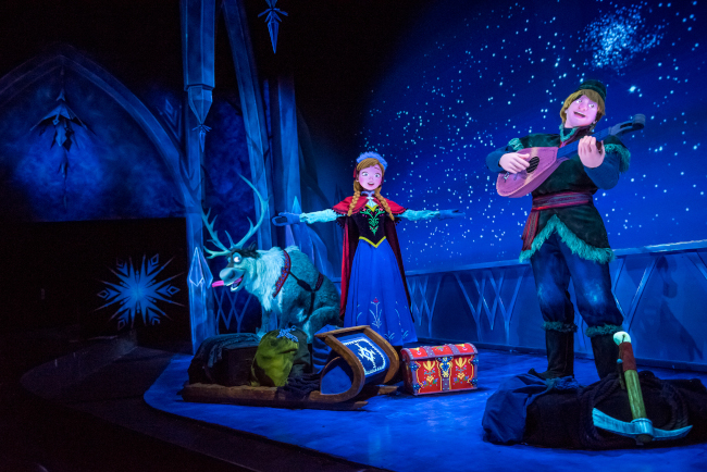 Anna, Kristoff, and Sven on Frozen Ever After at EPCOT